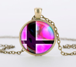 Wholesale Super Smash - Wholesale-Super Smash Bros Ball Pink and Black Pendant Glass Dome necklace Pendants silver vintage Necklace for men ,women gift CN-427