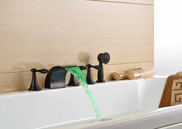 Wholesale Deck Mounted Tub - LED Oil Rubbed Bronze Bathroom Tub Faucet Hand Shower Sprayer Deck Mount Tap