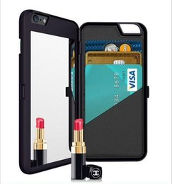 Wholesale Cell Phone Mirror Cover - iphone 6 6S plus Mirror wallet Case Multi Function Card Slot Holder PC cell phone Pouch Cases Girls Cosmetic Mirror Cover for iphone