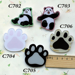 Wholesale Panda Pins - 10 different style hot popular lovely cartoon panda foot brooch for children pins Kid's acrylic pins C702 C703 C704 C705 C706