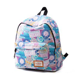Wholesale Cute Laptop Backpacks - 171211001 Fashion Cute canvas school laptop printing pattern teenagers boy girl Backpack waterproof Travel computer bag cartoon Graffiti