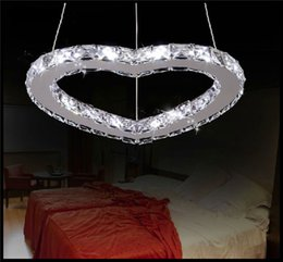 Wholesale Deco Heart - AC 110- 220v 230V LED heart Chandelier Luxury Crystal Art Deco Lustre LED Adjustable Cord Pendant Lamp Chandeliers Lighting Romantic