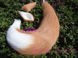 Wholesale Ear Tail Costume - Wholesale-Free shipping Japan Anime Spice and Wolf Holo fox ears & tail plush cosplay Costumes prop 65cm Handmade
