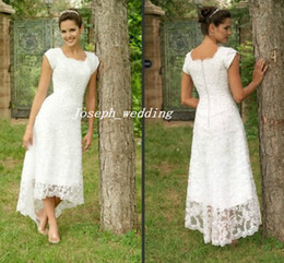 Wholesale Tea Wedding Dress Short Sleeves - Free Shipping Hot Selling Scoop tea length lace casual dress short sleeve wedding dress fast delivery