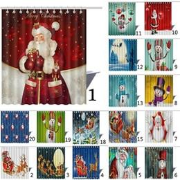 Wholesale 3d Printed Fabric - 3D Printed Shower Curtains Polyester Fiber Waterproof Bath Curtain Christmas Santa Claus Snowman Bathroom Accessories Hot Sale 28wb B