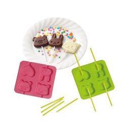 Wholesale Random Bear - Silicone Chocolate Candy mold animal & heart with pick Cat   Bear   Rabbit free shipping random color