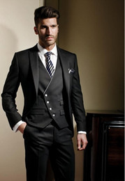 Wholesale Mens Plaid Vest - 2016 New Business Men Suits Groomsmen Tuxedos Groom Suit Tailored One Button Peak Lapel Mens Suits(Jacket+Vest+Tie+Pants)