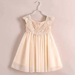 Wholesale Kids Crochet Clothes Wholesale - Kids Dress Ruffle Dress Crochet Flower Dresses Girl Dress 2015 Summer Dresses Tulle Dress Lace Dresses Children Clothes Kids Clothing C6434
