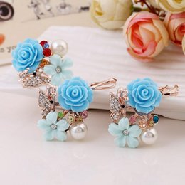 Wholesale Cheap Real Jewelry For Women - Cheap Promotion 2015 Real Rose Gold Plated Ring Earring Sets for Women Two Colors Flower Shape With Charm Pearl Fashion Rhinestone Jewelry
