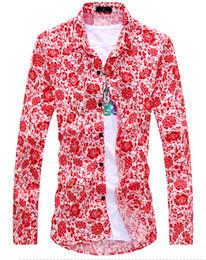 Wholesale Men Slim Shirts China - 2016 new spring summer wind China blue and white porcelain version slim Korean flower shirt shirt summer style shirt men 6605LBC306