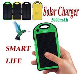 Wholesale Universal Solar Battery Charger Usb - Universal 5000mAh Solar Charger Waterproof Solar Panel Battery Chargers for Smart Phone PAD Tablets Camera Mobile Power Bank Dual USB 50pcs