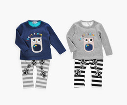 Wholesale Baby Boys Owl Clothes - Baby Clothing Set Outfits Long Sleeve Cartoon Owl Pattern Tops Hooded + Striped Pants 2 pc Suits Velvet Autumn Warm Sets Grey A7828