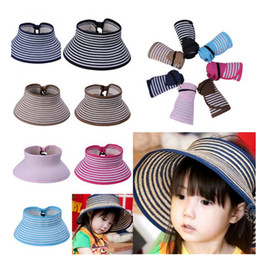 Wholesale Straw Hat Children Wide Brim - New Kid Summer Beach Wide Brim Girls Striped Straw Visor Foldable Sun Hat for Child, 10pcs lot free shipping