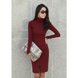 Wholesale Dresses Work Design - New Korean Women Dress Turtle Neck Long Sleeve Split Design Slim OL Lady Bodycon Knit Dress