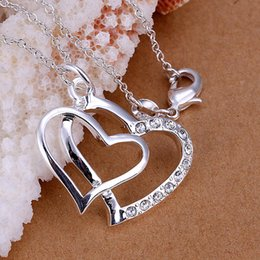 Wholesale Double Heart Necklace 925 - new arrival 925 silver necklace double hearts with crystal necklace fit O chains necklace 18""