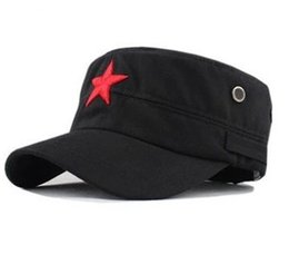 Wholesale Cheap Cadet Hats - Cheap price !2016 new fashion Unisex Hot-selling Red Star Hat General Summer Military Hat Cadet Cap 2Colors
