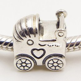 Wholesale Pandora Baby Charms - 100% 925 Sterling Silver Thread Baby Carriage Charm Pendant Bead Fits European Pandora Jewelry Bracelets & Necklace