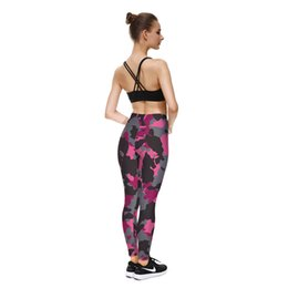 Wholesale Camouflage Leggins - Red Camouflage Leggings Sporting Pants Workout Clothes For Women Runs Pants Sexy Slim Pencil Legins Leggins