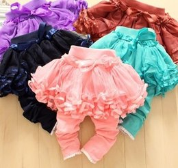 Wholesale Girls Pantskirts - Kacakid Baby Girls Clothes Princess Girl Lovely Lace Bow Solid Pant Children Layered Tulle Bubble Skirts Pantskirts Kids Pants I2600