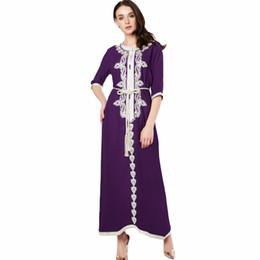 Wholesale Ethnic Clothing Muslim - Muslim women Long sleeve Dress maxi long dress islamic clothing Moroccan kaftan elegant embroidery ethnic vintage dress tunic 15