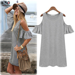 Wholesale Beach Jerseys - women summer Beach dresses Ladies Sexy Short Sleeve Cotton Grey Dress 2015 New Brand woman Casual Jersey O-neck Tops clothes