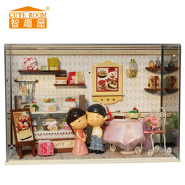 Wholesale Wooden Toys Cake - Wholesale- Doll House Furniture Diy Wooden Assembling Building Miniatura DollHouse Toys for Children Birthday Christmas gift Cake honey
