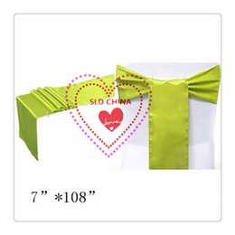 Wholesale Apple Chair Sashes - Wholesale-Free Shipping 100 apple green Satin Chair Sash For Wedding Decoration