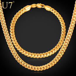 Wholesale Fashion Jewelry Settings - U7 Steampunk Classic Chains Set Black Gun 18K Gold Rose Gold Platinum Plated Link Chain Necklace Bracelet Fashion Men Jewelry Accessories