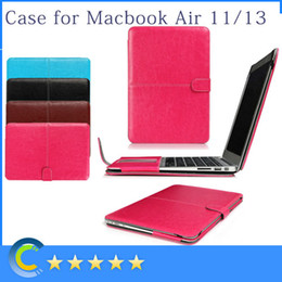 Wholesale Leather Laptop Sleeve 15 - PU Leather shell Folding Protective Laptop Sleeve case Cover for Apple Macbook Air Pro Retina 11 13 15 New macbook 12 retina case