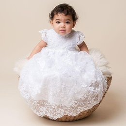 Wholesale Lace Christening Gown For Boys - Fashion Lace Baby Dresses Short Sleeve Blessing Baptism Christening Gown bonnet White Ivory for Baby Girls and Boys Custom Cheap J1030
