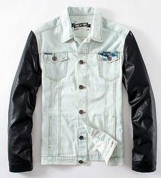 Wholesale Denim Jacket Men Leather Sleeve - Fall-Denim Jacket With Leather Sleeves Mens Brand Patchwork Cowboy Jeans Free Shipping