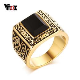 fa6d0ab613b9 anillo de oro piedra negra para hombres Rebajas Al por mayor-Vnox Vintage  Gold-
