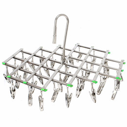 Wholesale Cool Outdoor Clothing - windproof Stainless Steel Swivel Clothes Hanger organizer with 35 clips for Clothes Underwear Bra Socks Gloves Drying Hook Rack