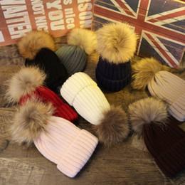 Canada Fille garçon Crochet chapeau vrais cheveux boule tricot casquette Mme laine chaud multicolore adultes cadeaux pour enfants cheap hair children wool Offre