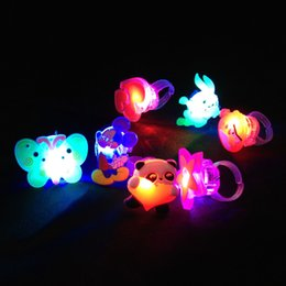 Wholesale Led Glow Finger Ring - 100pcs lot LED Glow Ring Lovely Colorful Cartoon Design Glitter Finger Ring Child Gift Toys L032