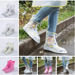 Wholesale Waterproof Slip Shoe Covers - Waterproof PVC Reusable Rain Shoe Covers Anti-Slip Printed Rain Shoe Zipper Rain Boot Overshoes Waterproof Wear Resistant Shoes Cover 65Pair