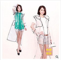 Wholesale Wholesale Pvc Raincoats - Serging Raincoat Boutique Unisex Transparent Clear Pvc Rainwear Fashion Rainwear Waterproof Runway Style Poncho Raincoat Rain Coat m0938