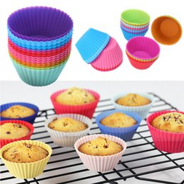 Wholesale baking cups liners - Hot sale! Round shape Silicone Muffin Cupcake Mould Case Bakeware Maker Mold Tray Baking Cup Liner Baking Molds