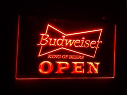 Wholesale Beer Neon Bar Signs - b-27 OPEN Budweiser Beer NR Pub Bar LED Neon Light Signs
