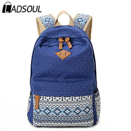Wholesale Girl Bags For High School - Ethnic Women Backpack for School Teenagers Girls Vintage Stylish Ladies Bag Backpack Female Purple Dotted Printing High Quality