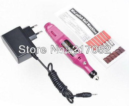 Wholesale Shape Electric Salon - 1Set Pen Shape Electric Nail Drill Machine Art Salon Manicure File Polish Tool+6 Bits Pedicure 20000RPM (100V~240V EU Plug)#4215