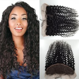 Wholesale Cheap Brazilian Lace Closures - 6A Cheap Brazilian Lace Frontal Closure Human Hair 13x4 Bleached Knots Virgin Deep Curly Full Lace Frontal Pieces Free Shipping