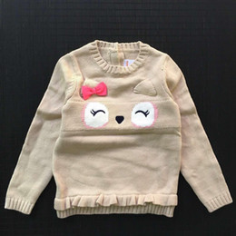 Wholesale Baby Girls Winter Jumpers - 2016 Kids Girls Crochet Knit Sweaters Baby Girl Cartoon Bow Cute Pullover Children's Winter Jumper Sweater Babies clothes