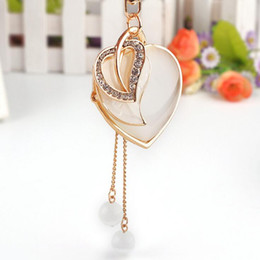 Wholesale Romantic Items - Novelty Item Enamel Rhinestone Creative LOVE Heart Pendant Keychains Gold Plated Earrings For Women Handbag Free Shipping