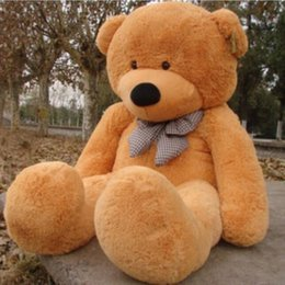 Wholesale Huge Giant Teddy Bears - 2015 New Arriving Giant Right-angle measurements 200CM 78''inch TEDDY BEAR PLUSH HUGE SOFT TOY Plush Toys Valentine's Day gift 5 color brown