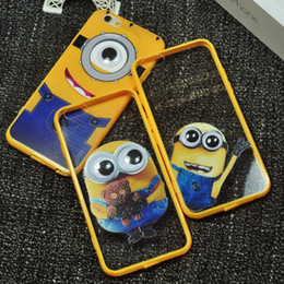 Wholesale Despicable Iphone Casing - Cartoon Despicable Me Minions Relief Soft TPU Cell Phone Back Cases Cover With Lanyard For iPhone 5S 6 6plus 6S 6S Plus 1pcs