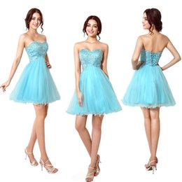 Wholesale Two Hearts Vintage - short party dresses 2015 Pageant Prom Gown Homecoming Party Cocktail Dresses Lace UP In Stock 2015 New Sweet-heart A Line Beaded Tulle Cheap
