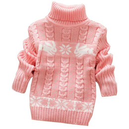 Wholesale Cute Winter Coats For Girls - Autumn Winter Sueter Infantil for Girls Baby Sweater Coats with Cartoon Rabbit Print Cute Kids Sweaters New Soft Turtleneck Coat