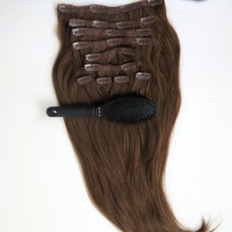 Wholesale Extension Hair Clip Pcs - 100% Human Hair Clip in Hair Extensions Smooth Brazilian Hair 6# Medium Brown Remy Straight Hair 160g pcs 10pcs set CP160