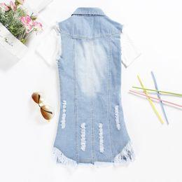 Chaleco 5XL Estilo de verano Chaleco Jean azul Mujer Chalecos Mujer 2015 Denim Borla Chaleco Chaqueta Colete Feminino Chaleco largo más el tamaño desde fabricantes